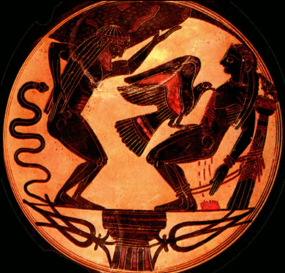 Black figure kylix of Prometheus and Atlas